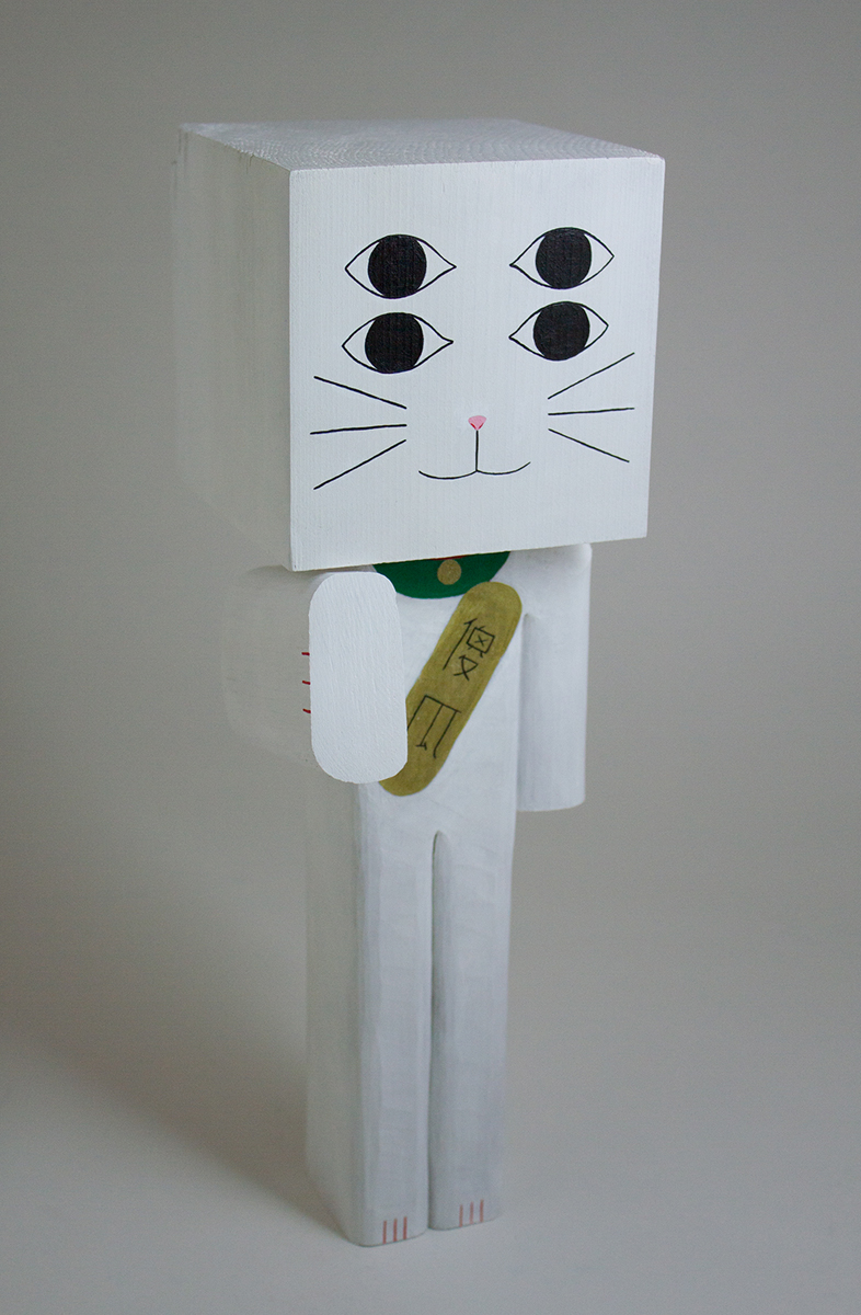 Lucky Cat (4 Eyes), Acrylic & Basswood, 11.75×3.75×3.75