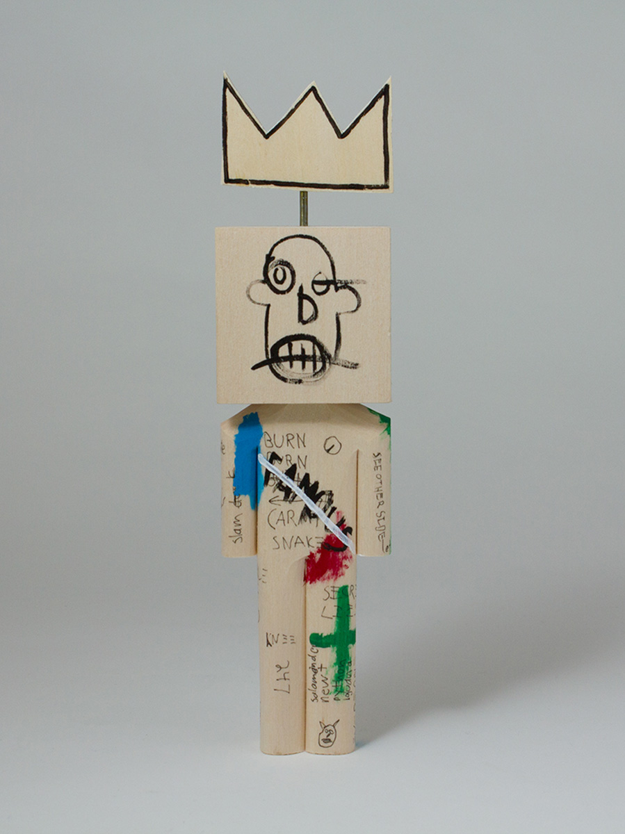 "Tribute to Basquiat, Acrylic & Basswood & Metal Wire, 7.5""x2""x1.25"""