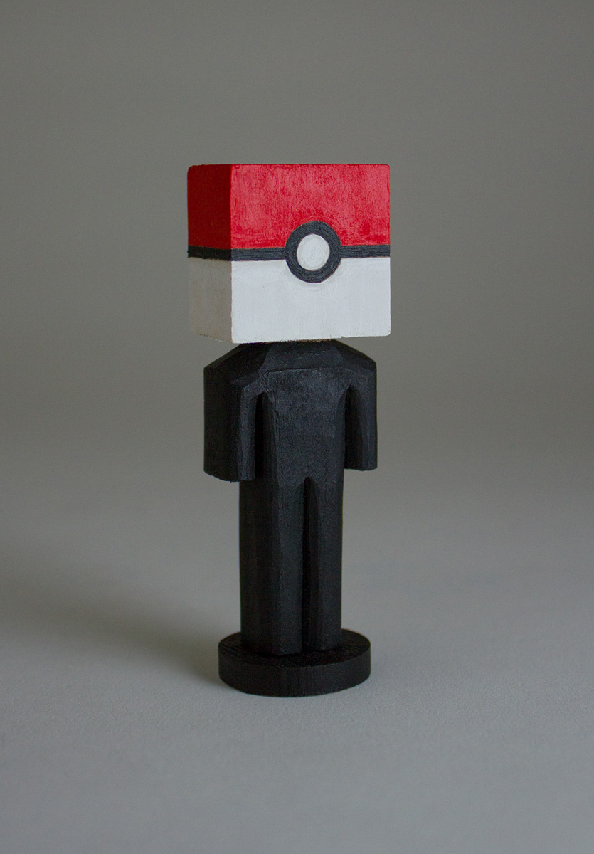 "Pokeball, Acrylic & Yellow Pine, 3.25""x1""x.75"""