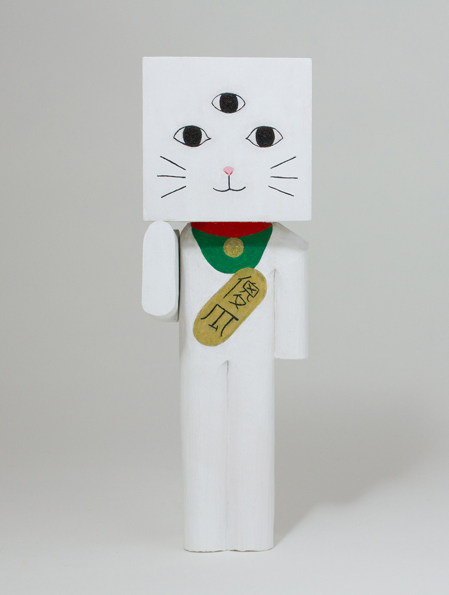 Lucky Cat (3 Eyes), Acrylic & Basswood 6x2x2 inches