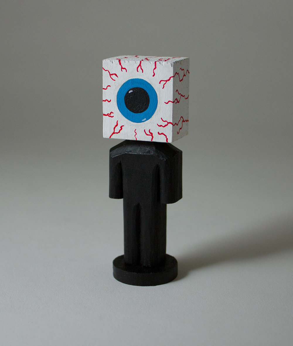 "Eyeball, Acrylic & Yellow Pine, 3.25""x1""x.75"""