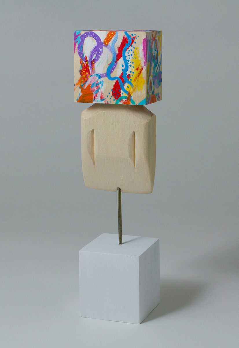 "Blockhead Bust, Acrylic & Basswood & Metal Wire, 7.25""x1.5""x1.5"""