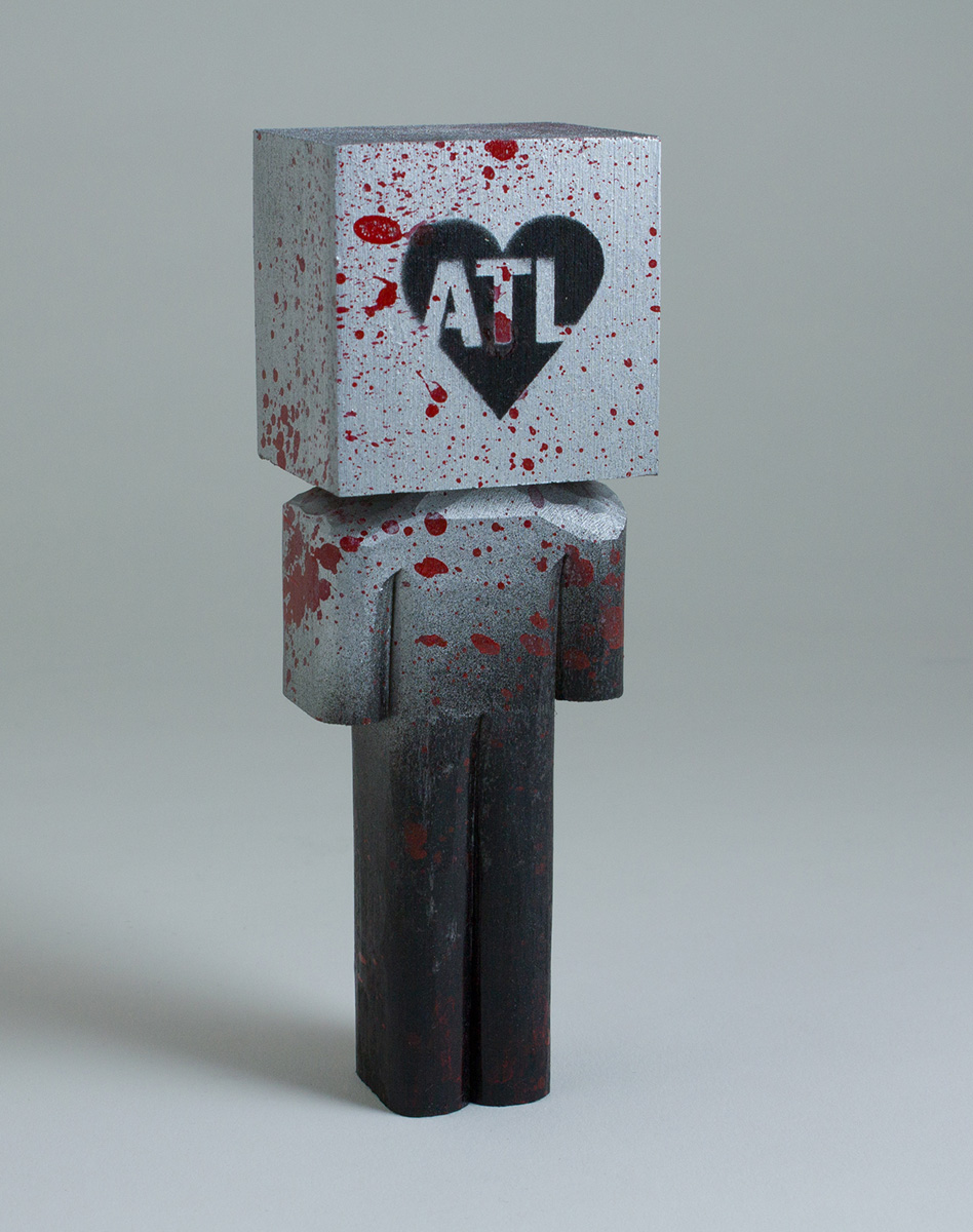 "ATL Heart (black and silver), Spray Paint & Basswood, 6""x2""x1.5"""