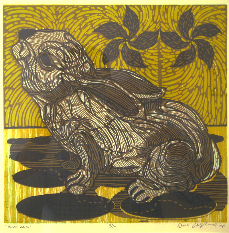 Blind Faith linocut woodcut 20×19 inches DCL 025-G
