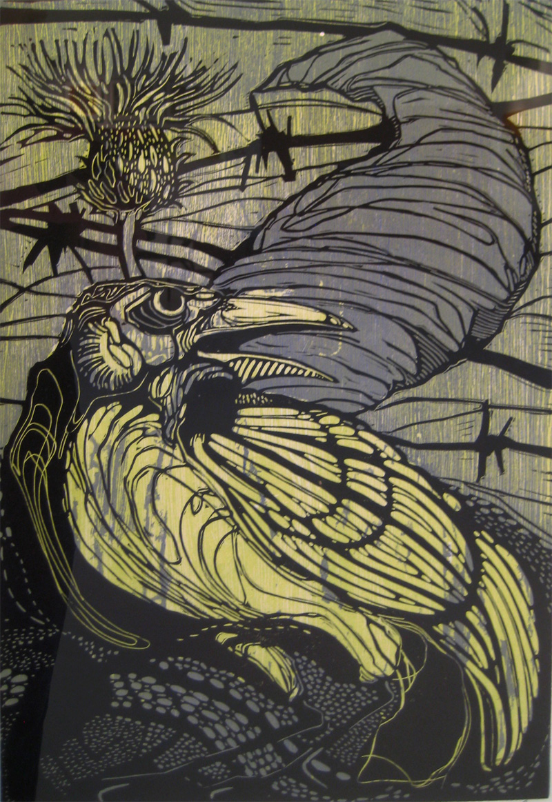Roving Bandit linocut/woodcut 18 x 12 inches DCL 008-G