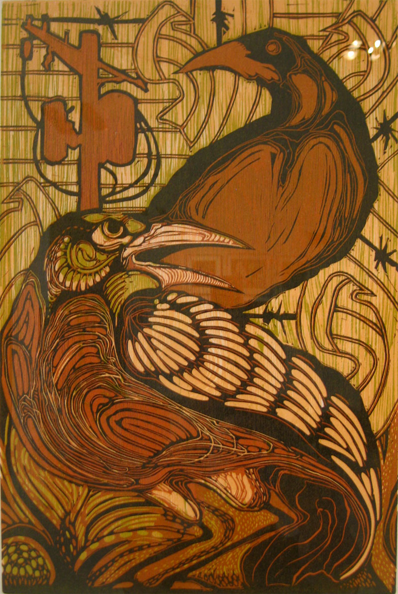 Shame of the Son linocut/woodcut 18 x 12 inches