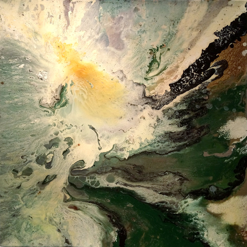 Terra Tides, mixed media on canvas, 22×22 inches, WDU 026G