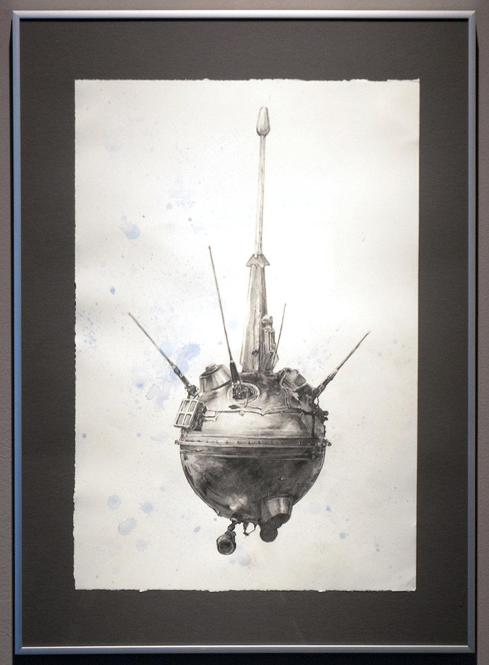 Luna 1 (Probe) graphite and watercolor on paper 28 x 20 inches JKO 076G
