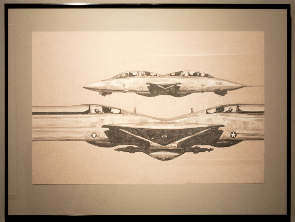 AsymmetricWarfare graphite and white charcoal on toned paper 18 x 24 inches JKO 078G