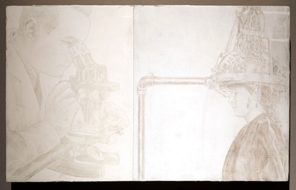 Study of Differences silverpoint on panel 11 x 18 inches JKO 081G
