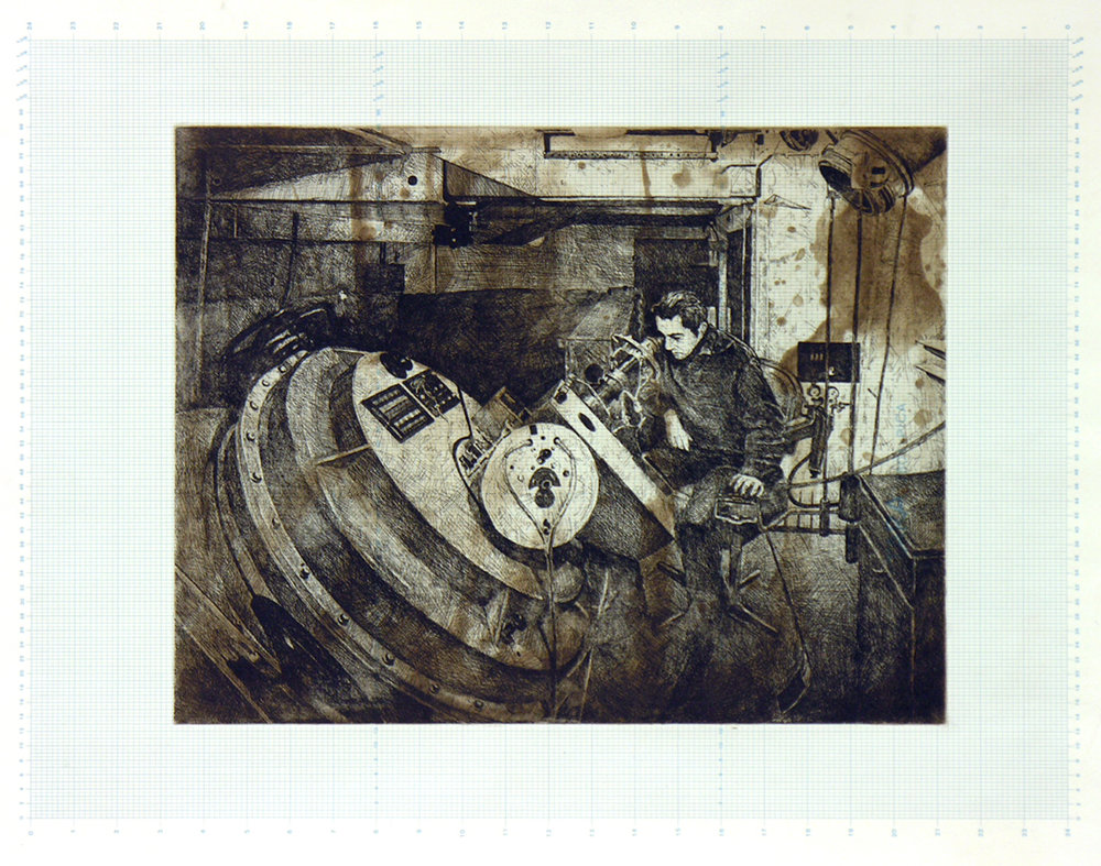 Everything Will Be OK, 1970 etching on vintage science board 32 x 40 inches JKO 002G