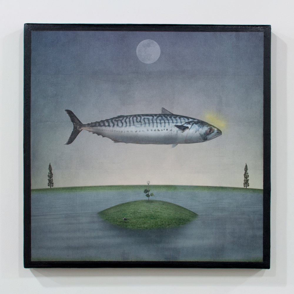 Holy Mackerel mixed media on wood panel 32 x 32 inches GNO 161G