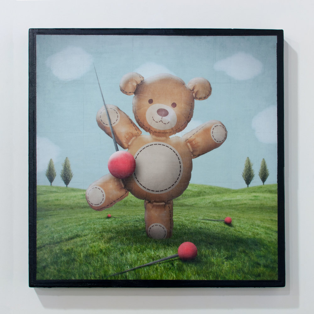 Dancing Bear mixed media on wood panel 32 x 32 inches GNO 157G