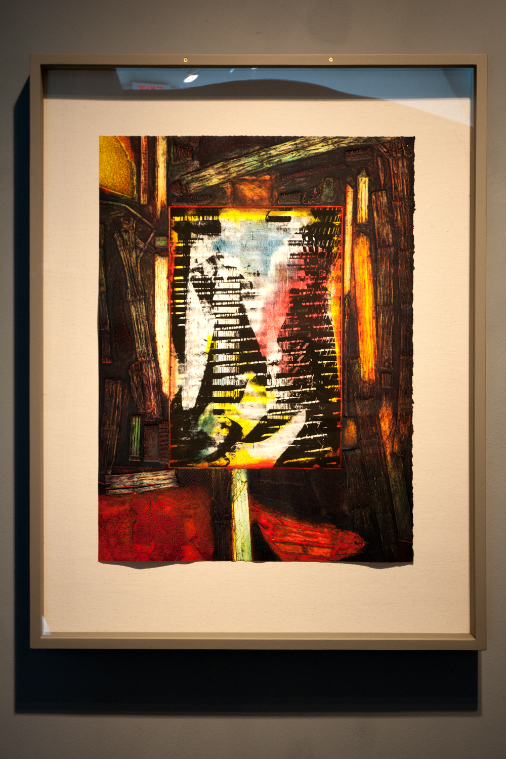 Viewing through Charlie's barn, 2002, collagraph monoprint, photo intaglio, 40¾ x 31½ inches