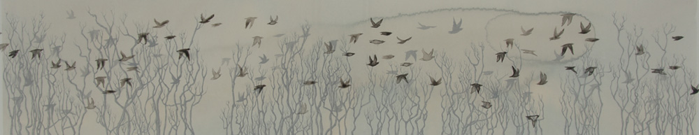 Migration ink on mylar and paper 12 x 36 inches LHA 012G - Lisa Hart