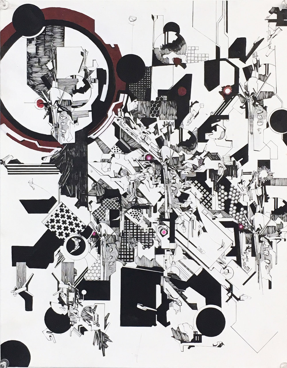 NICK ADAMS 5.4 Really Really Over-Eager Pattern Recognition  ink on paper 11 X 17 inches