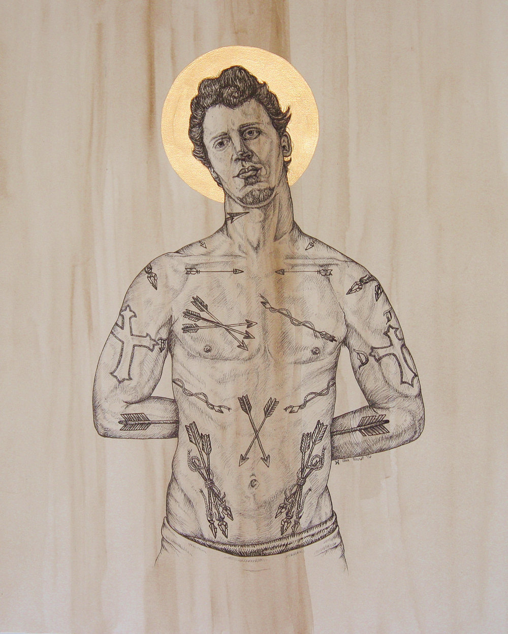 "Alea Hurst St.Sebastian Pen, Ink 21"" x 17"""