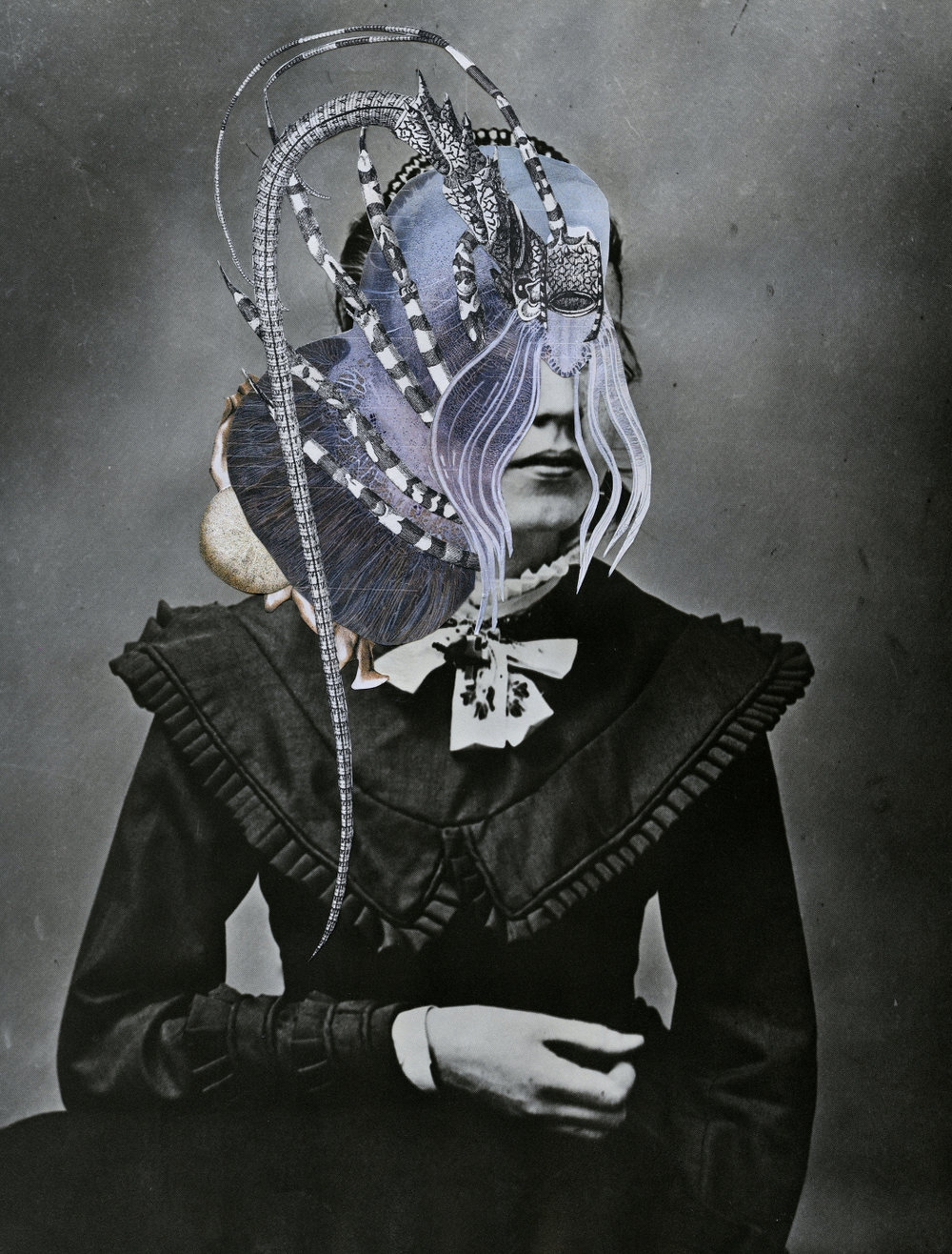 "Axelle Kieffer Medusa Hand cut collage on photo 12"" x 15"""