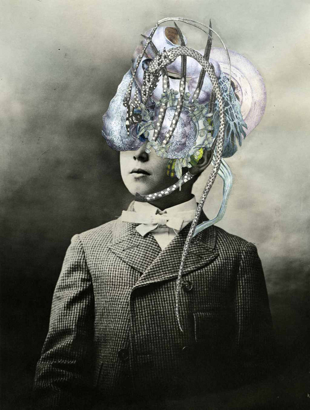 "Axelle Kieffer Mopsos Hand cut collage on photo 12"" x 15"""