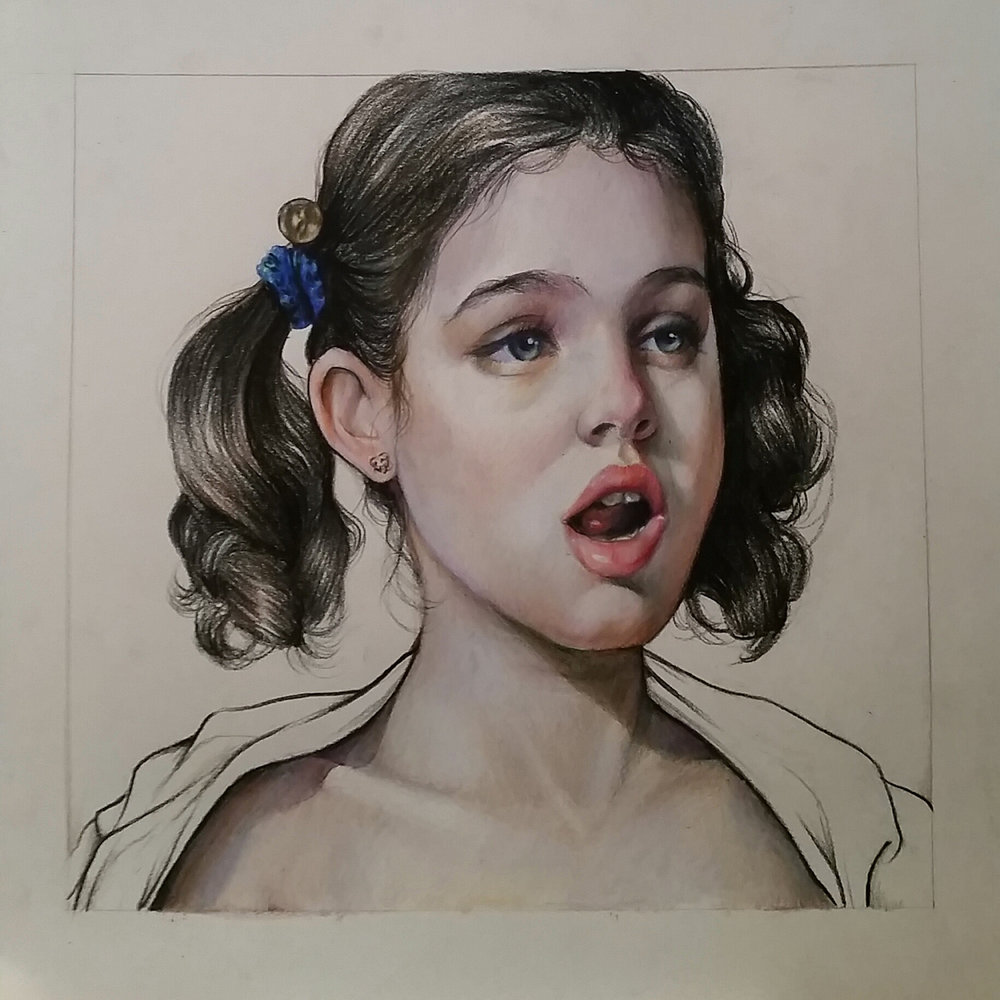 "Jessica Locklar Cokie Gets Her Revenge colored pencil 10"" x 10"""