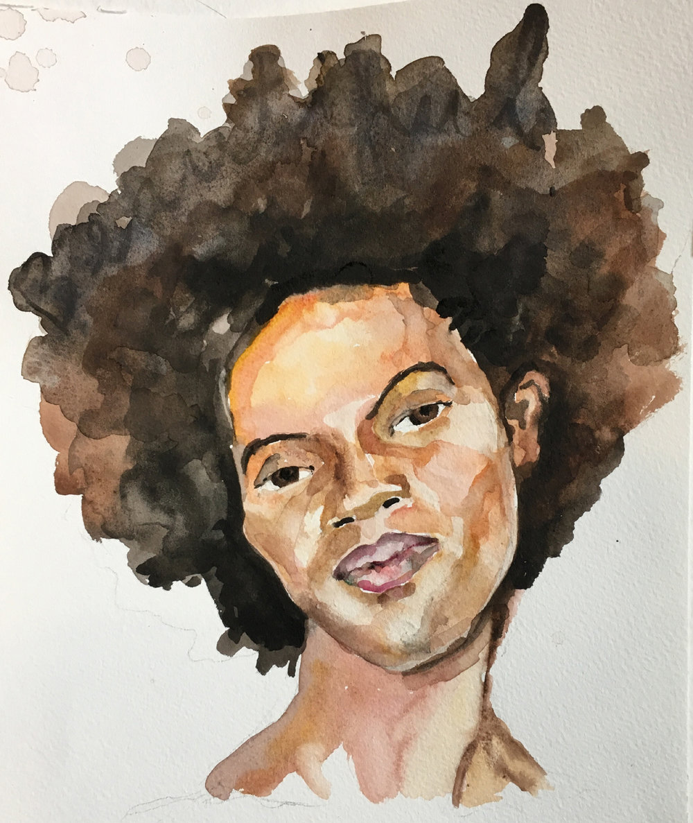 "Mia Merlin Southern woman  3 watercolor 12"" x 9"""