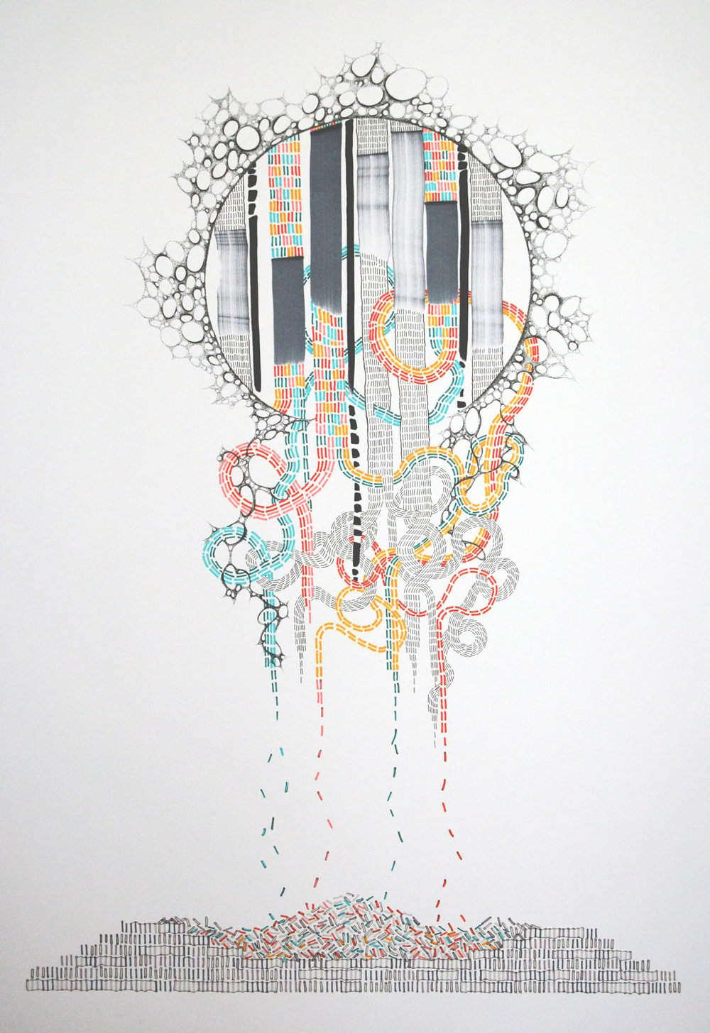 "Amber Singleton Pez Head Pen Prismacolor Marker 29"" x 36"""