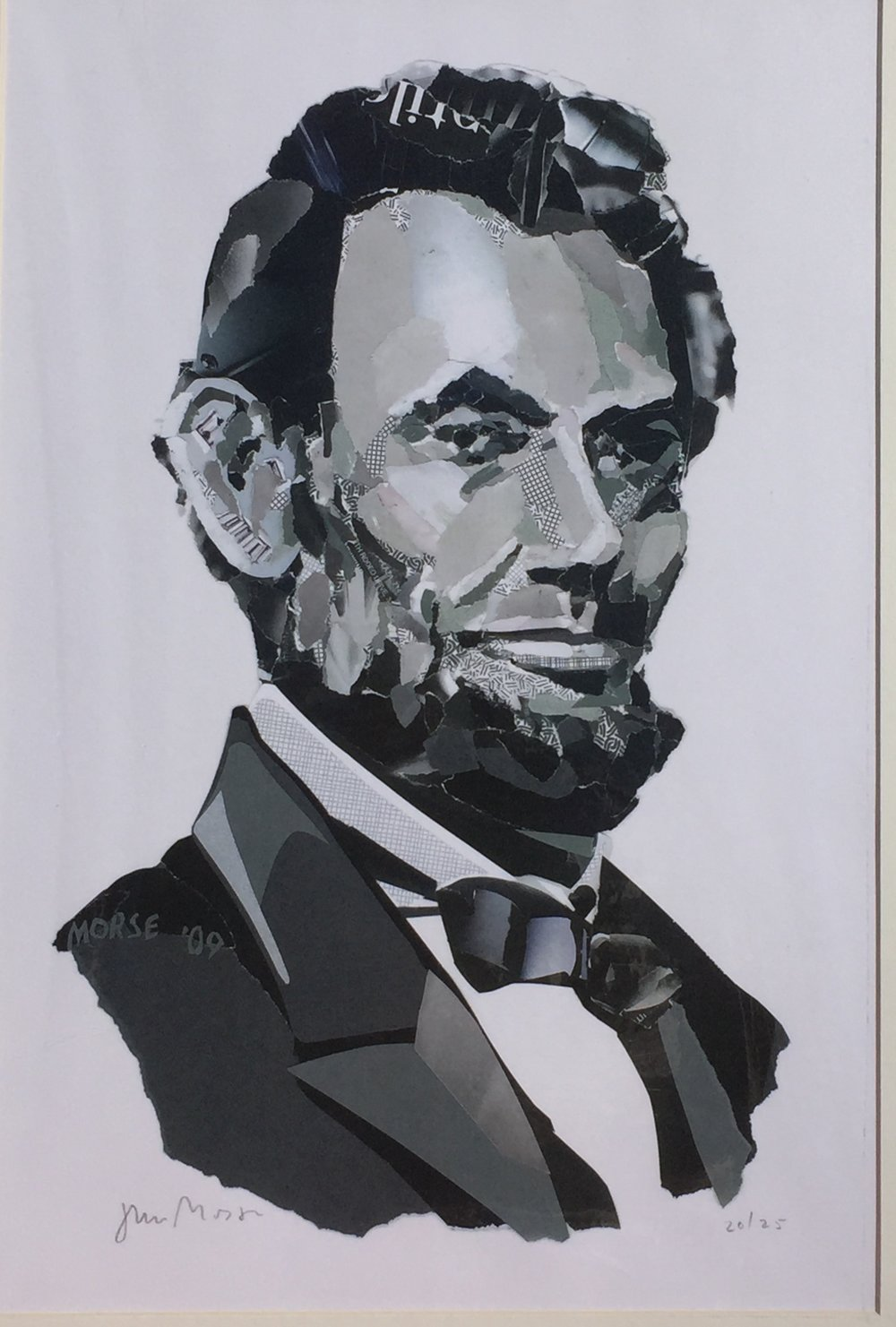 JOHN MORSE Abraham Lincoln (black & white) found paper collage 11 x 17 inches JMO 006