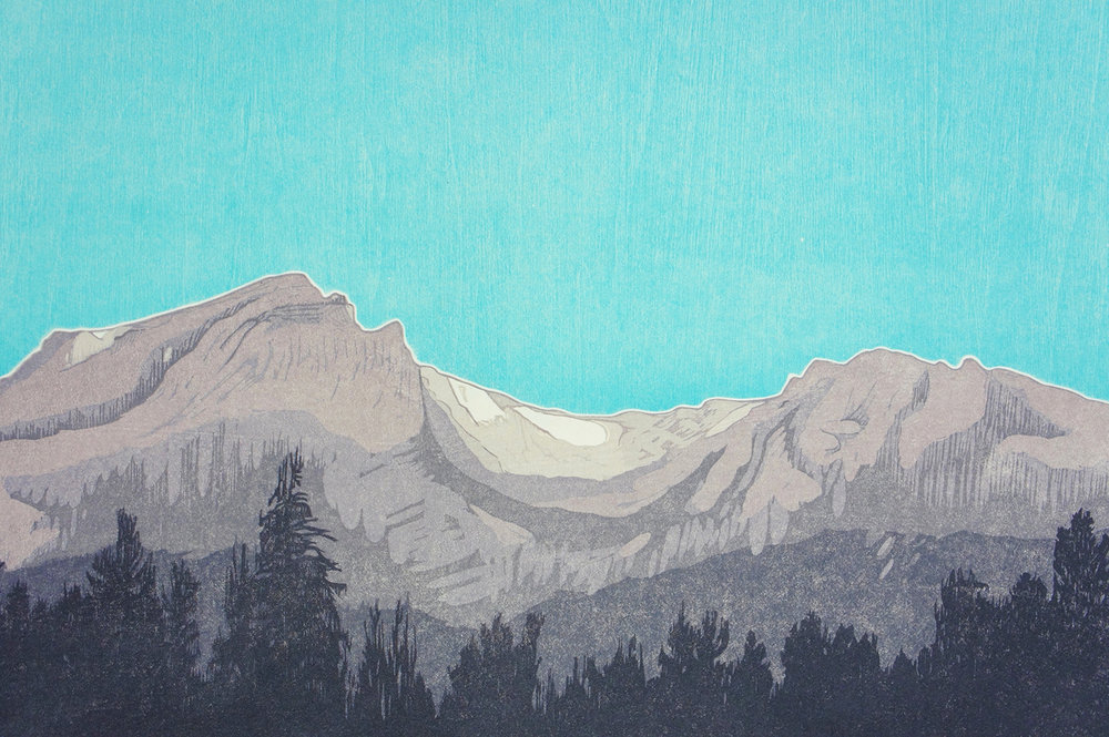Tyndall Glacier woodcut print on Okawara Washi paper 17 x 24 inches TAN015