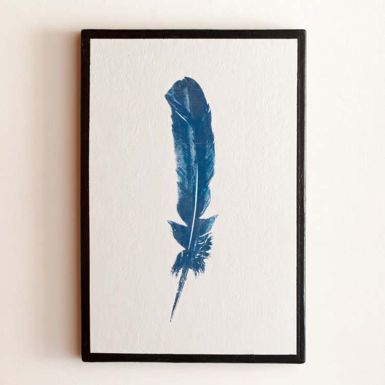 Blue Feather Mixed Media on Wood Panel 37.25 x 25.25 GNO 165G
