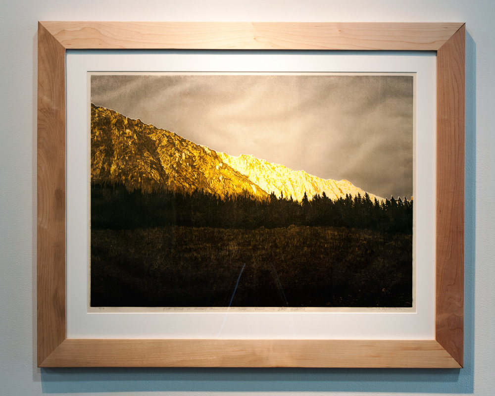East Ridge of Mummy Mountain at Dusk woodcut print on Okawara Washi paper 17 x 24 inches TAN014