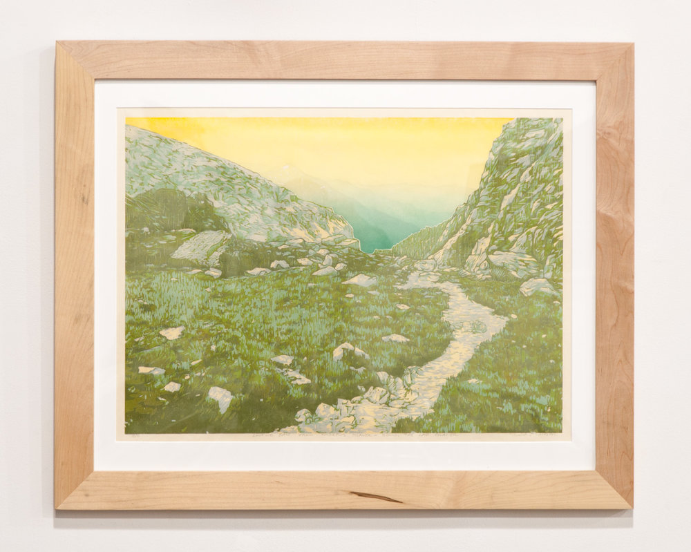 Looking East from Andrews Glacier woodcut print on Okawara Washi paper 17 x 24 inches TAN017