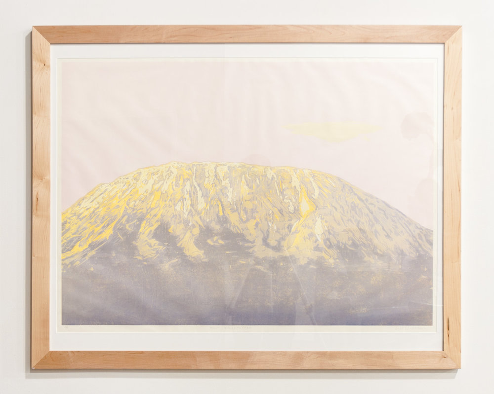 Mount Kilimanjaro reductive woodcut print on Auska Washi paper 31 x 44 inches TAN029