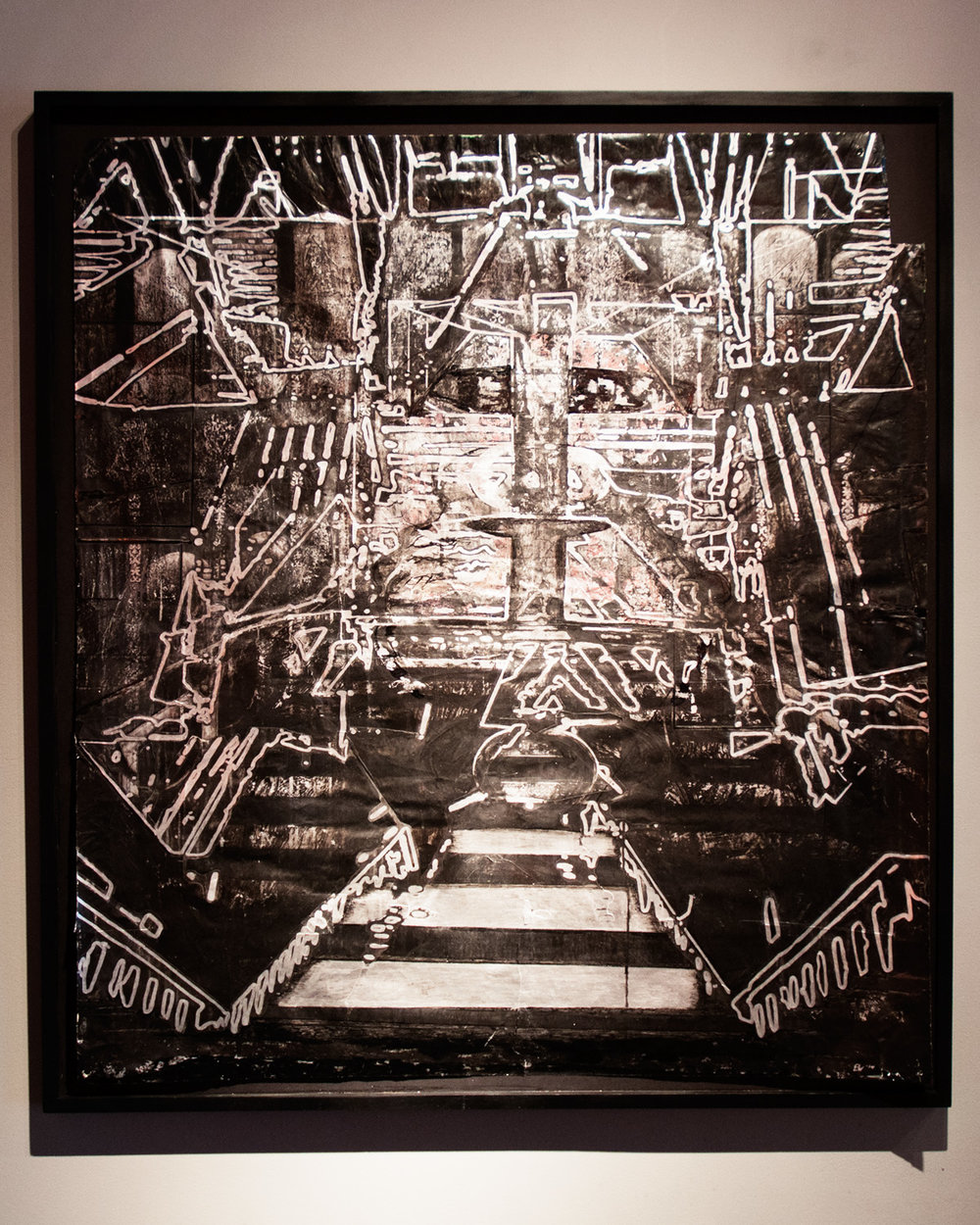 Tenebrae Spatio III, Black Altar silver foil, india ink, acrylic, and collage 62 x 55 inches EWA005
