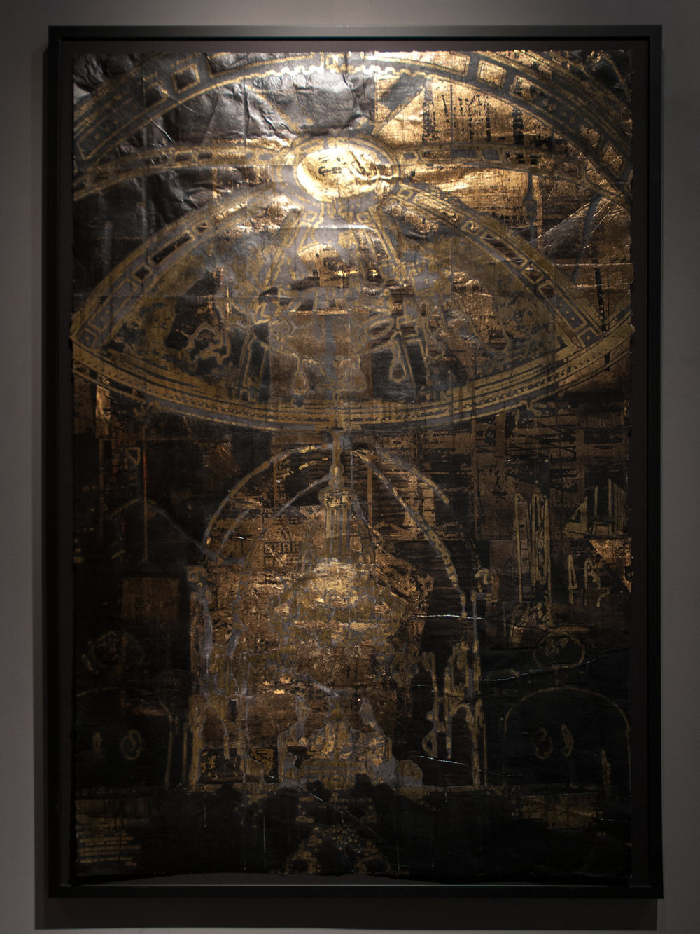 Tenebrae Spatio V, Gold Altar gold leaf and foil, india ink, acrylic, and collage 68 x 47 inches EWA004