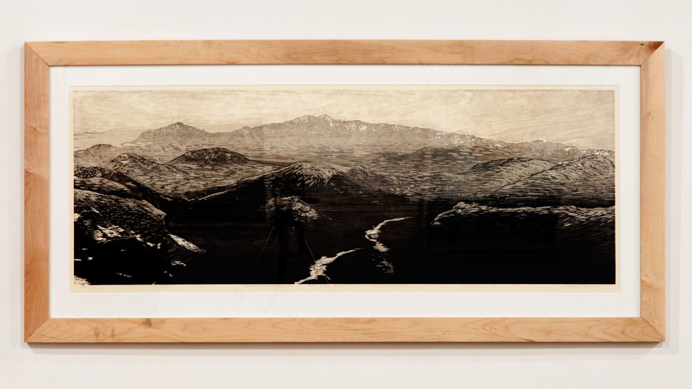 Looking South from Rock Cut, Trail Ridge Road woodcut print on Okawara Washi paper 17 x 47 inches TAN018