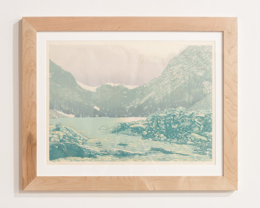 Mills Glacier woodcut print on Okawara Washi paper 17 x 24 inches TAN016