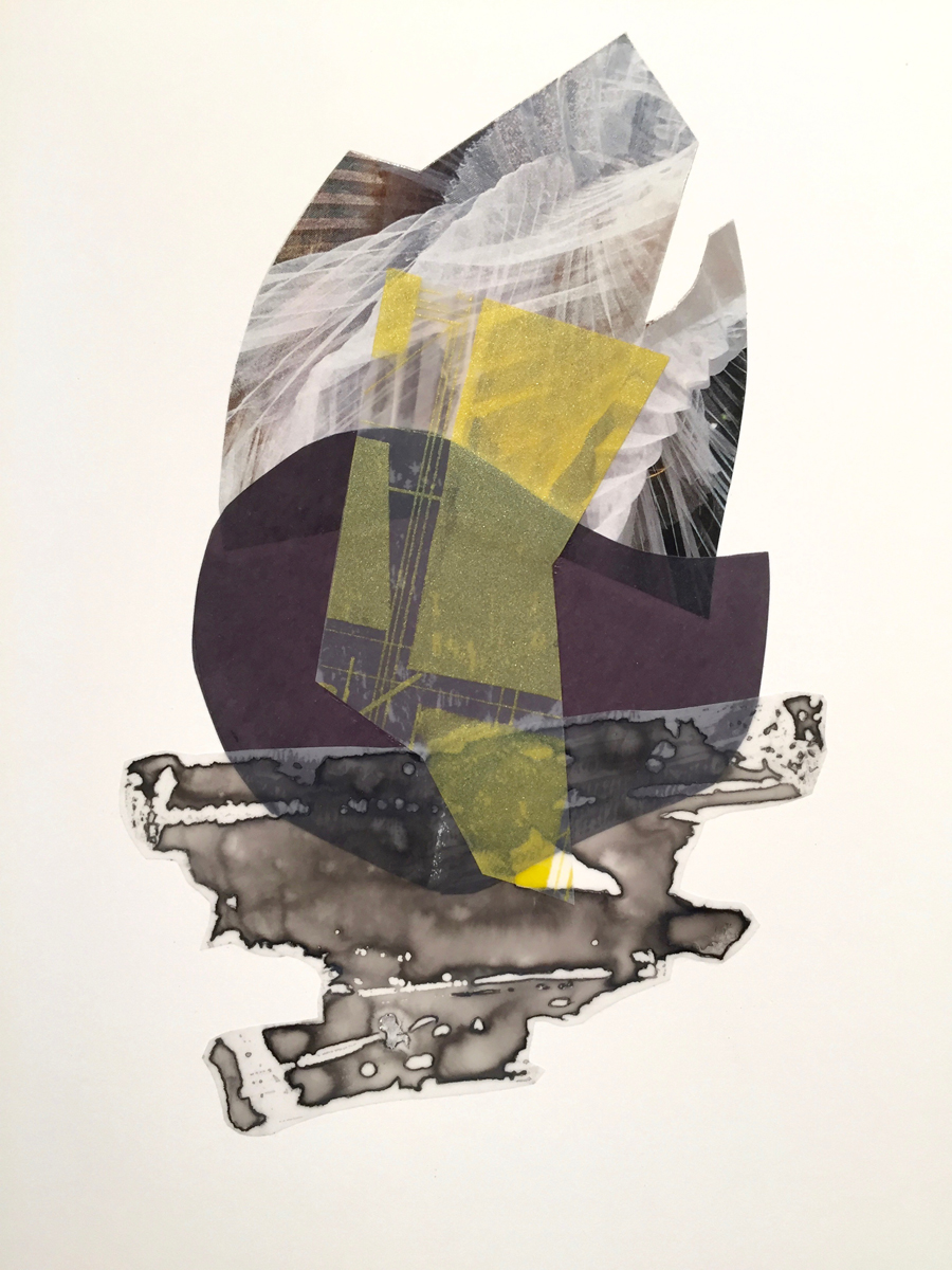 Spell 2016 Ink Mylar Silkscreen Ink & cut paper on Arches 11.25 x 9.25 inches