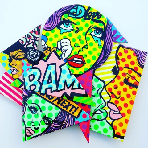 BAM acrylic and spray paint with crystal clear resin on wood cuts 40 x 40 inches CHO 011G