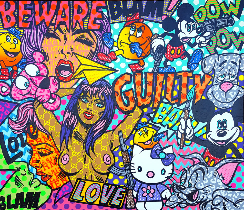 Beware of the Guilty acrylic and spray paint on wood panel 56 x 48 inches CHO 012G