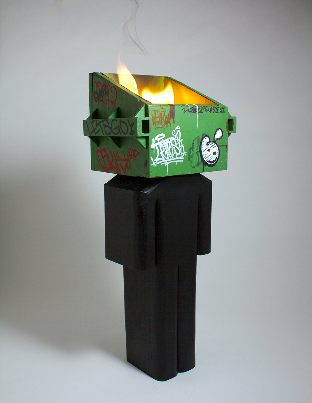 Dumpster Fire  mixed media and flame 14 x 5.5 x 4.25 inches CSK 026G