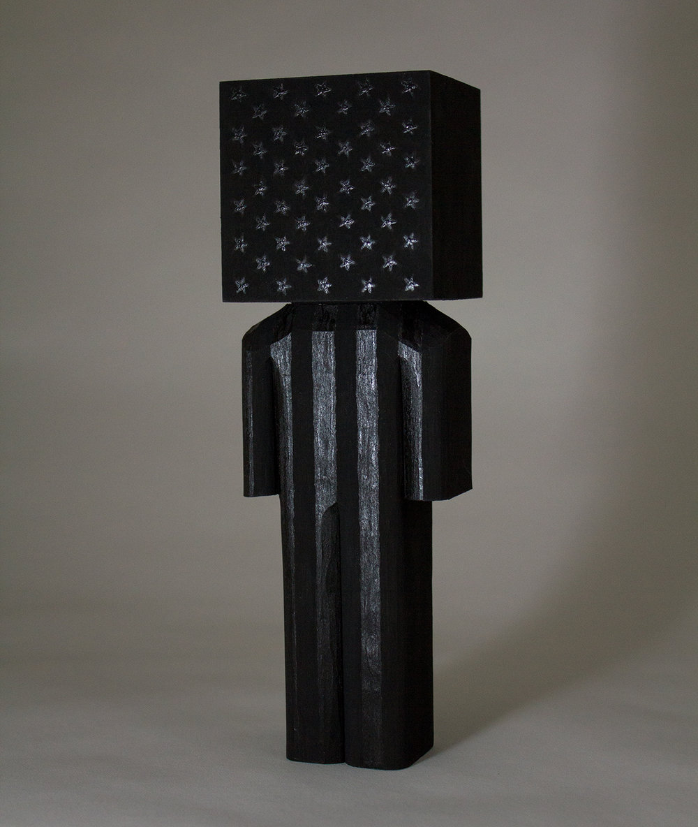 Black Flag  wood and acrylic 8 x 2.5 x 2.25 inches CSK 016G