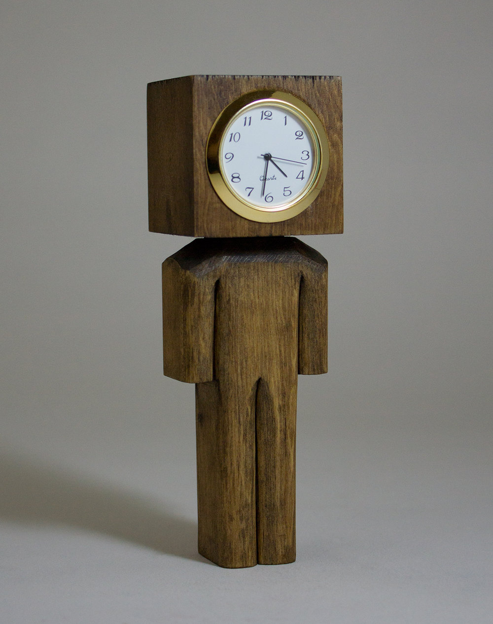 Clockhead  wood acrylic and clock face 5.5 x 1.5 x 1.5 CSK 014G