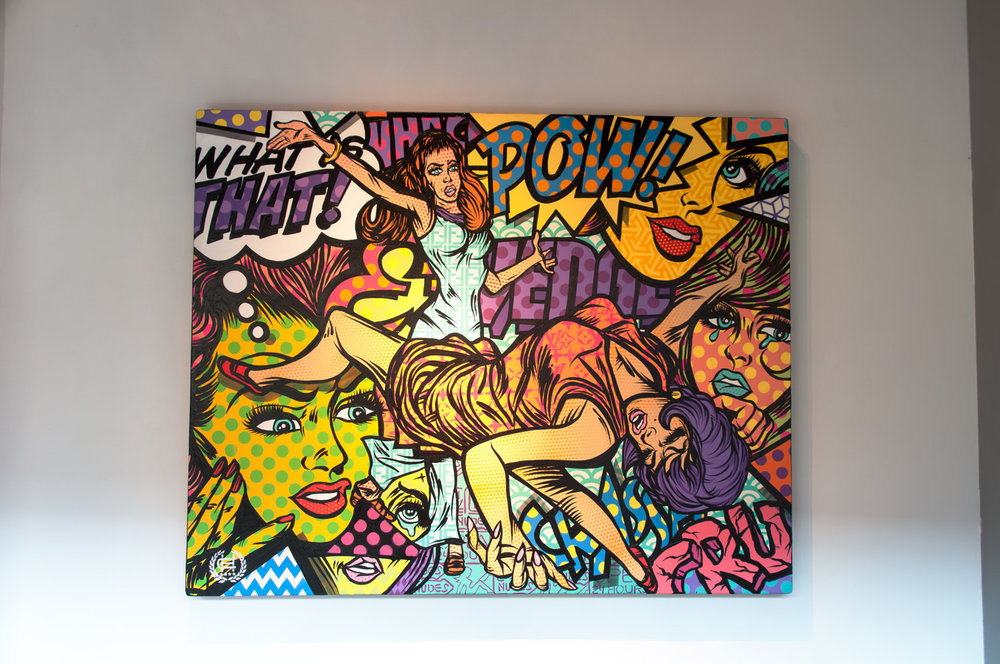 Cat   FIGHT   acrylic and spray paint on wood panel 60 x 48 inches CHO 013G