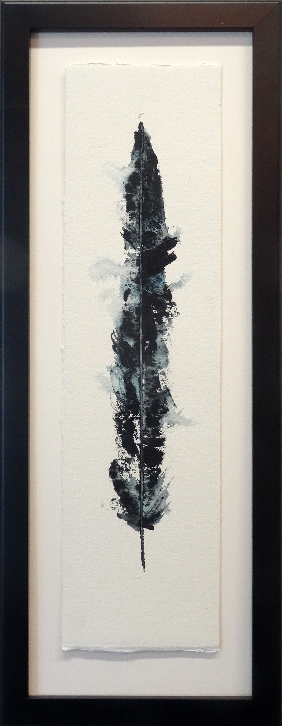 Larry Jens Anderson Solo Feather Acrylic on layered watercolor paper in shadowbox frame 27 x 10 inches LJA 198G