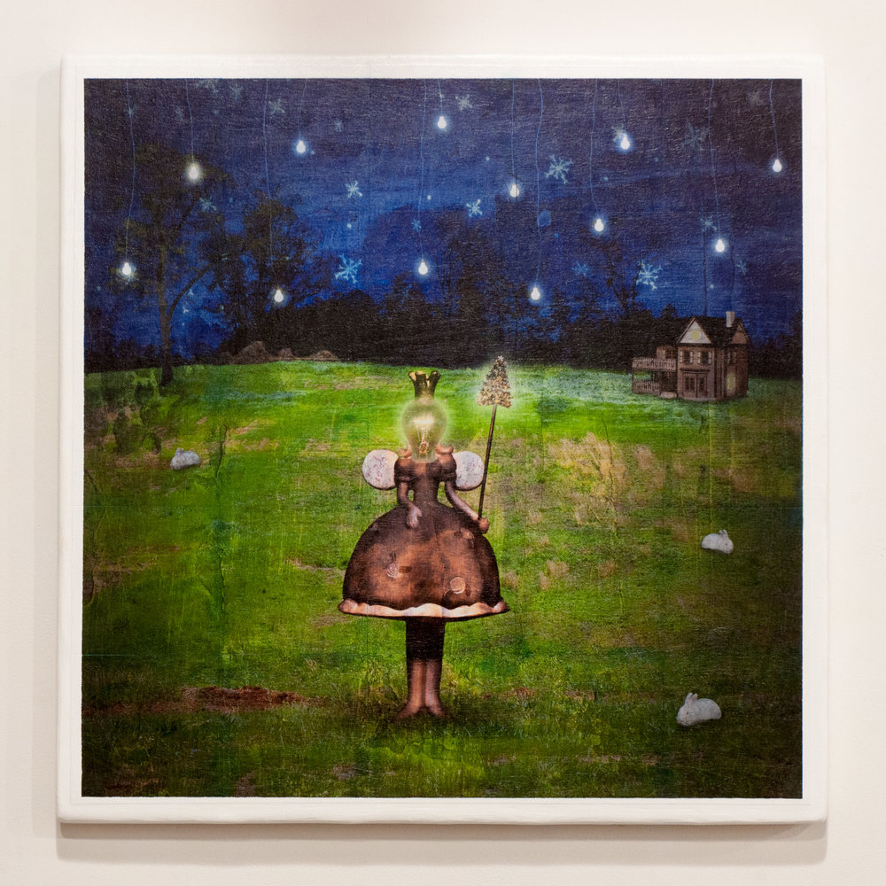 Dreams gridded photograph on wood panel with gel medium 30 x 30 inches GNO 199G