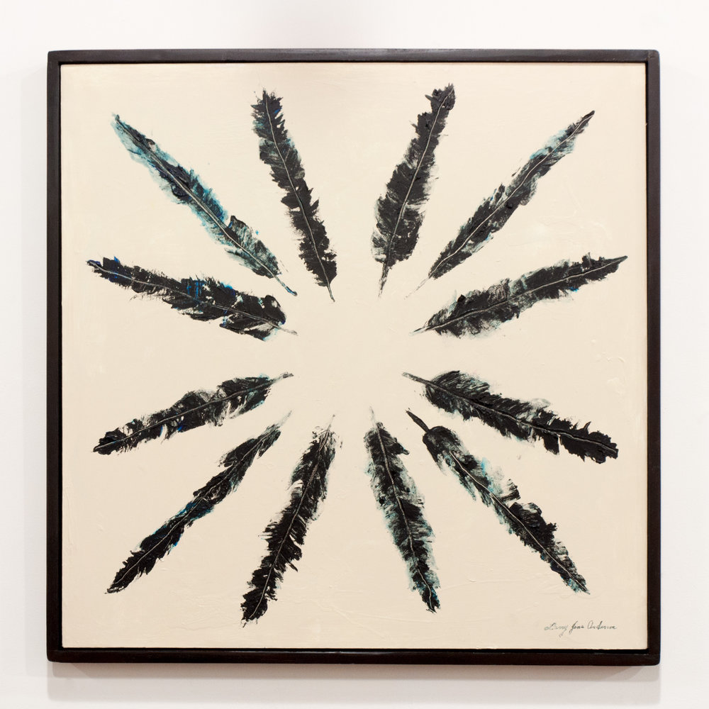 LARRY JENS ANDERSON  Tribal Feathers  acrylic on layered watercolor paper framed in dark stained wood 36 x 36 inches LJA 196G
