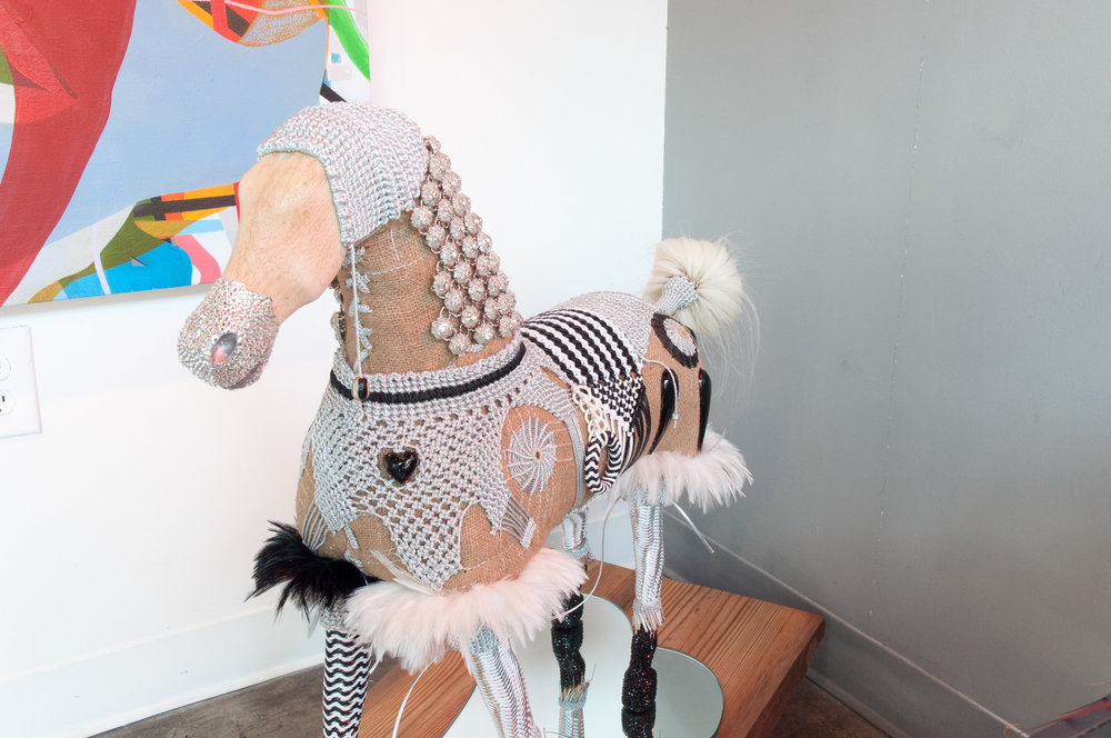 Spotted Pony   Vintage French Rocking horse, Swarovski Crystal,Silver Metallic Cord, Faceted crystal beads, Vintage French Paillettes, reclaimed Southern Pine Base, Vintage Fly Duster   MGR 010G