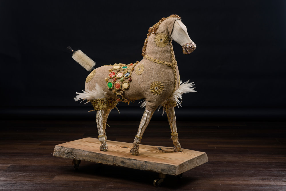 Gold Rush   19th Century French rocking horse, starfish trimmed in metallic gold crochet saddle, Swarovski crystal, vintage paint brush 27 x 24 inches  MGR 001G