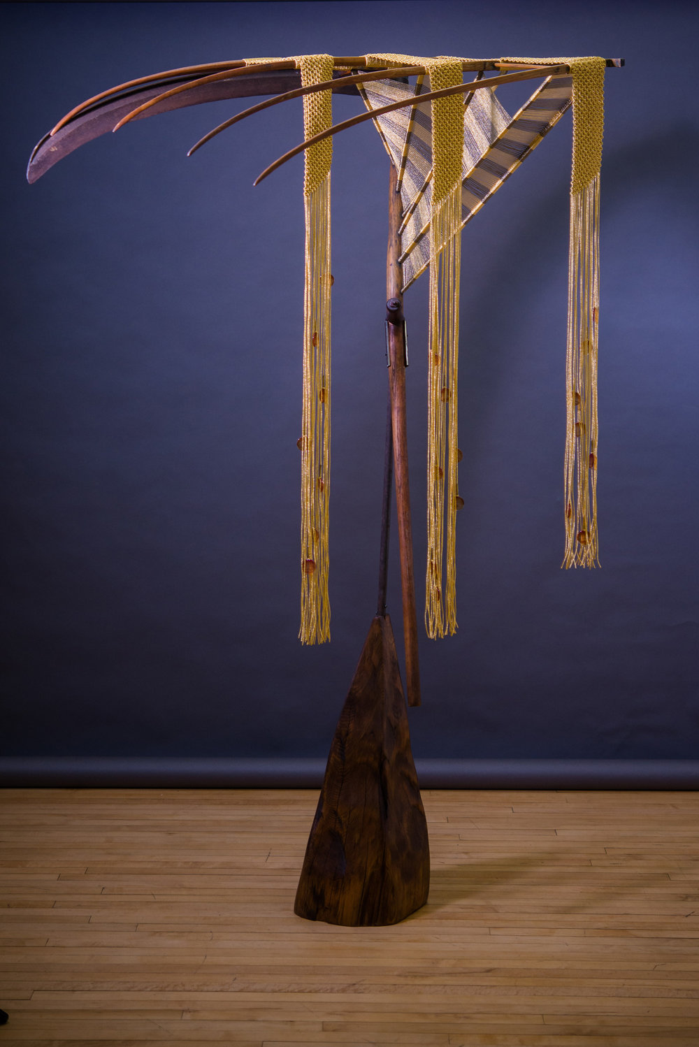 "Nebraska Landscape (2015) Hand-knotted gold & antique gold metallic threads, Early American scythe (circa1890) Southern Pine pedestal 6' x 36"" x 28""  MGR 011G"
