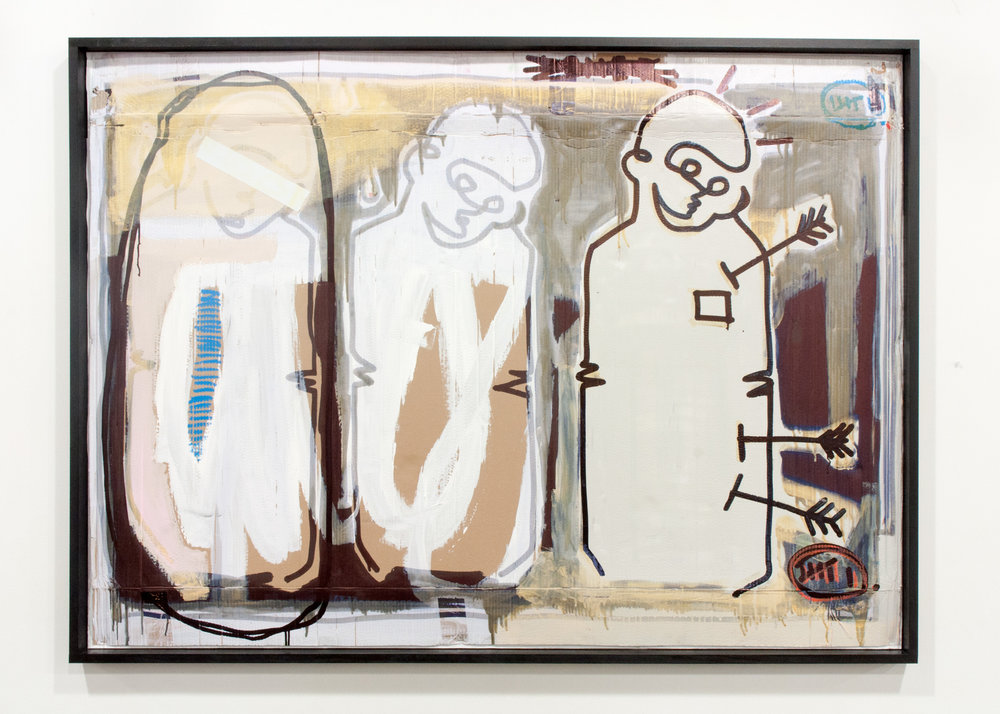 """Oddball"" aerosol, acrylic, ink, oil stick and tape on cardboard. 50 x 68 inches. LAR 005G"